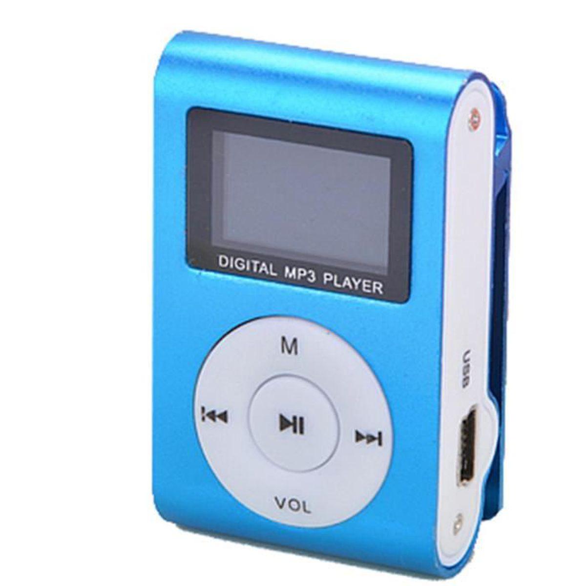 LECTEUR MP3  Lecteur MP3 Bleu Mini lecteur MP3 Clip USB FM Rad
