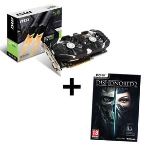 MSI Carte graphique GeForce? GTX 1060 3GT OC 3G GDDR5 + Jeu PC Dishonored 2 Limited Edition offert !