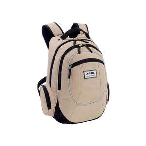 SAC À DOS sac à dos scolaire à 2 compartiments, beige et noi
