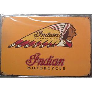 a4f64a6bd4c OBJET DÉCORATION MURALE plaque logo moto indian tete d indien fond jaune t