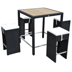Ensemble table de bar+4 tabourets salon jardin rés - Achat ...