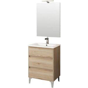 Meuble salle de bain bois clair - Achat / Vente pas cher