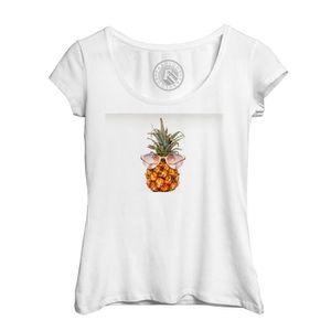 T-SHIRT T-Shirt Femme Ananas à Lunettes de Soleil sur Fond 30969c2641aa