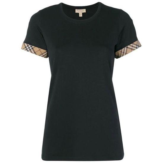 cb4f189bcbb BURBERRY FEMME 8002947 NOIR COTON T-SHIRT Noir Noir - Achat   Vente t-shirt  - French Days dès le 26 avril ! Cdiscount