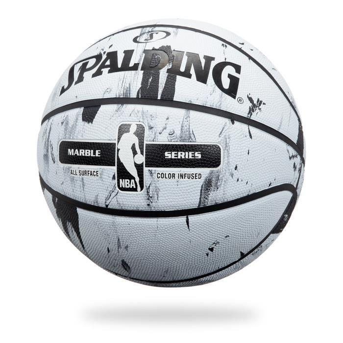 SPALDING Ballon de basket-ball NBA Marble Bw Outdoor - Noir et blanc - Taille 7