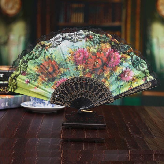 VENTILATEUR Style Chinois Tenue dentelle main Fan Dance Party