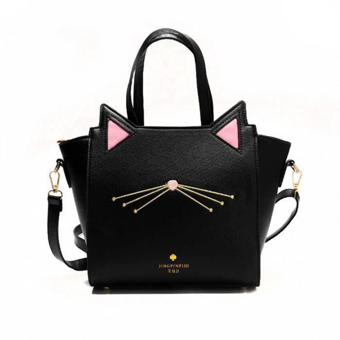 Modèle de chat Unique-sac d'épaule femme Mode Sac de messager - Noir