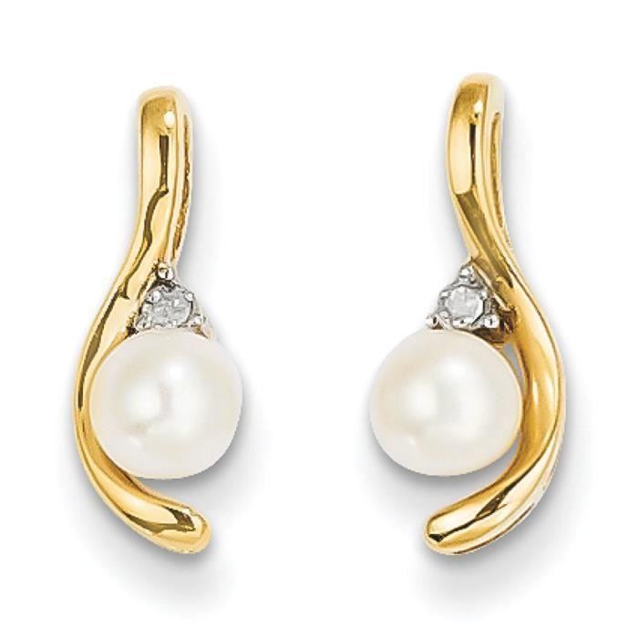 Brut 14 carats avec diamant et perle-Boucles doreilles