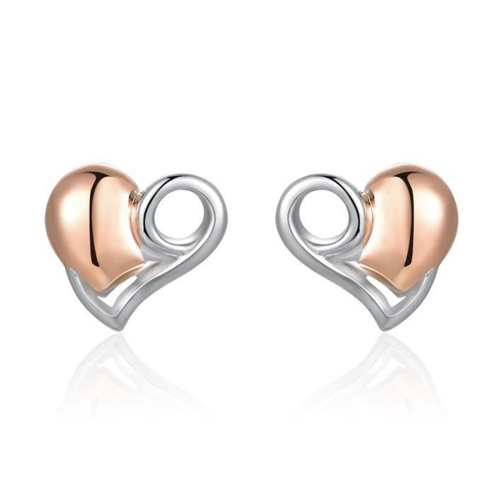 MaBelle Cœur Boucles dOreilles Clous 925 Argent Sterling Rouge Cadeau de bijoux Pour Femmes