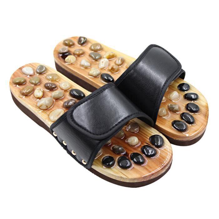 ménages Pantoufles Cobblestone pieds des hommes Pantoufles US9.5, BLACK B