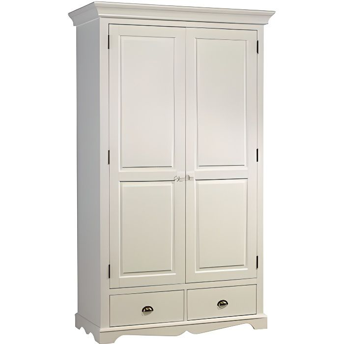 armoire blanche 2 portes avec penderie achat vente pas cher. Black Bedroom Furniture Sets. Home Design Ideas