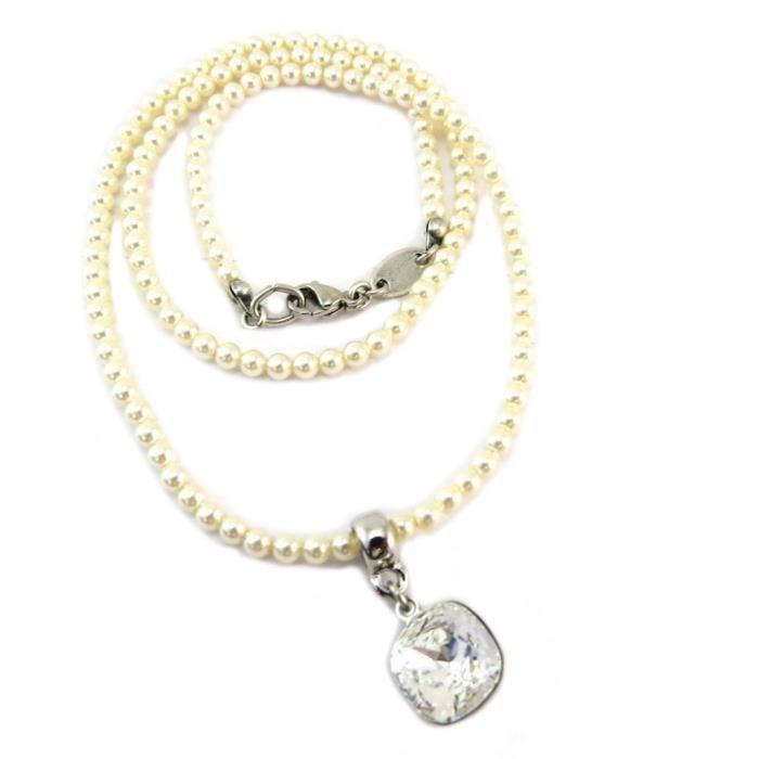 Collier artisanal Tsarine blanc ivoire argenté - 46 cm 3 mm, 10x10 mm [P6720]