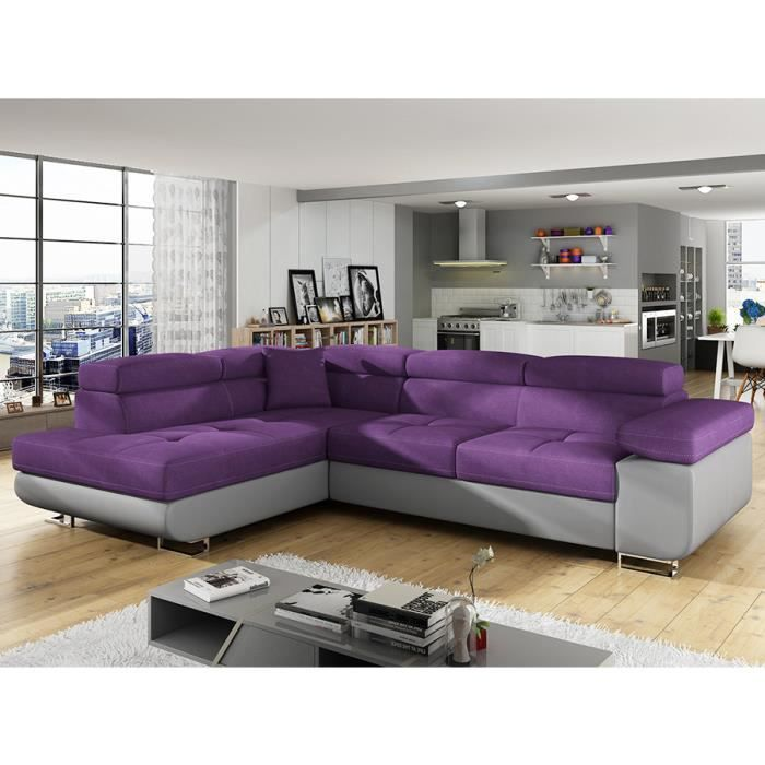 X Gauche Liam H 7 En Tissu L 88 Violet D'angle 275 P 202 Cm Angle Canapé Convertible WEIY2HDbe9