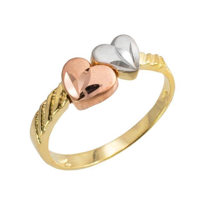 Bague Femme 14 ct Or 585/1000 Avec DiamantCœurs