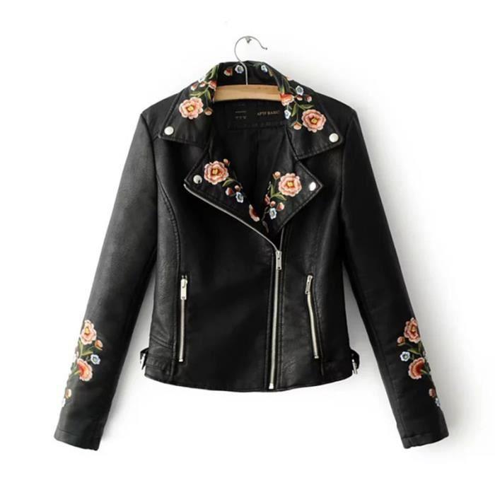 2018 nouveau femmes en cuir pu revers broderie lace vestes. Black Bedroom Furniture Sets. Home Design Ideas