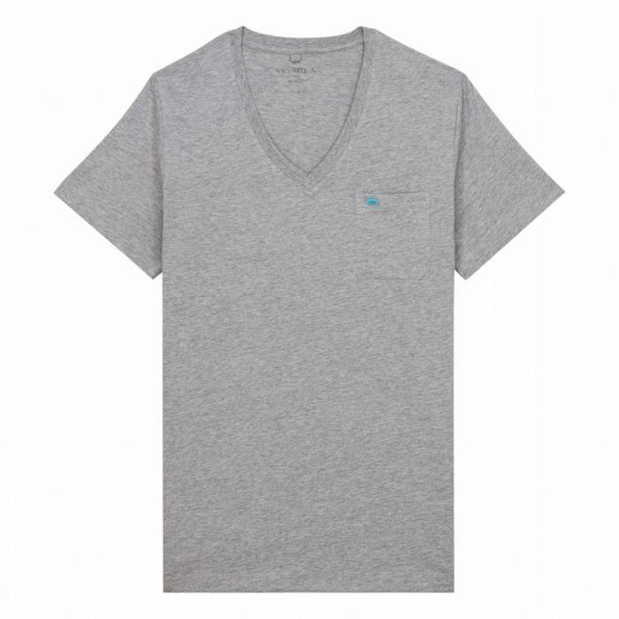 7037b6a1d6804 VICOMTE A. T-shirt gris col V Gris Gris - Achat   Vente t-shirt ...