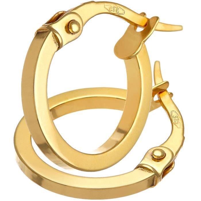 Revoni - Petites boucles doreilles anneaux carrés avec tube en or jaune 9 carats, diamètre 10 mm