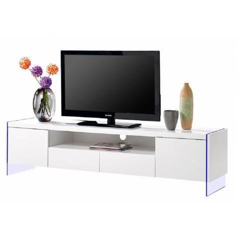 meuble tv meuble tv design a led blanc laque 2 portes 2 tiro - Meuble Tv Design A Led Blanc Laque Mars