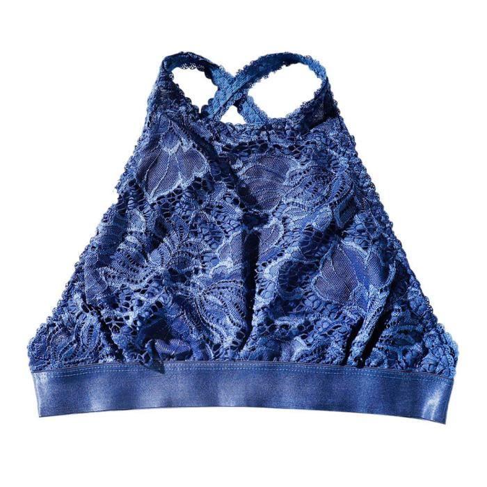 Sous Top Nowonie Dentelle Respirant Soutien vêtements gorge Solide Femmes Bleu Gilet Sexy Push Up Transparente En wB1FqORpBn
