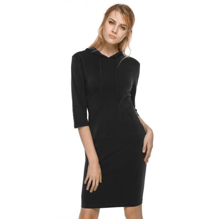 Robe femme Finejo capuche manches 3-4 couleur Pure Bodycon Stretch Slim longueur