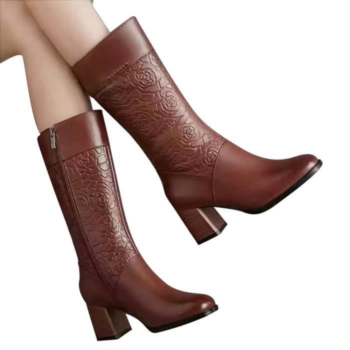 Femmes Cuir Martin Bottillons Talon Ronde Au En Garder Talkwemot102 À Bottes Shoes Toe Chaud Haut Zipper 1H1xqgp