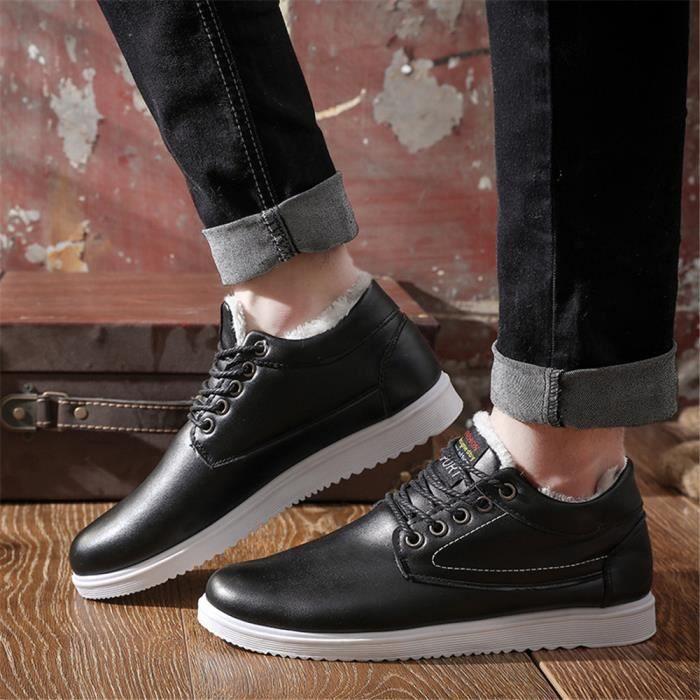 Chaussure décontractées hommes Chaud Antidérapant Sneaker homme Les chaussures fourréesde loisirs pour Hiver dssx404blanc44