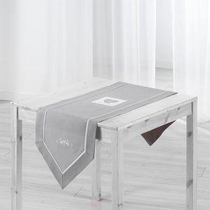 CHEMIN DE TABLE Chemin de table brodé Amandine 40x150 cm gris