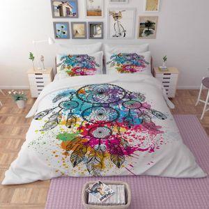 HOUSSE DE COUETTE SEULE Parure de lit attrape-rêve coloré 3D effet 160*210