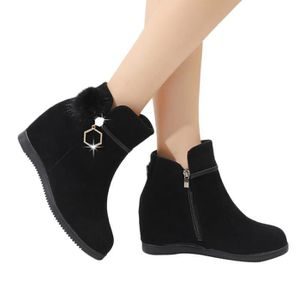 BOTTE Femmes Suede Hairball Compensées bout rond Chaussu
