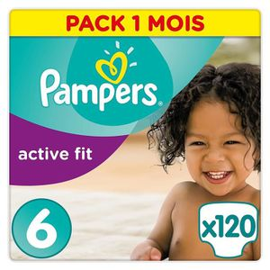 COUCHE Pampers Active Fit Taille 6 (+15kg/XL) - 120 couch