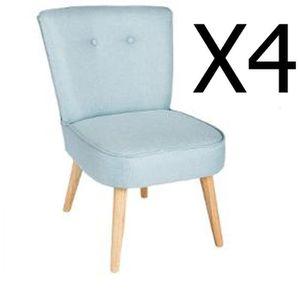 FAUTEUIL Lot de 4 fauteuils coloris Bleu - Dim : L. 51 x l.