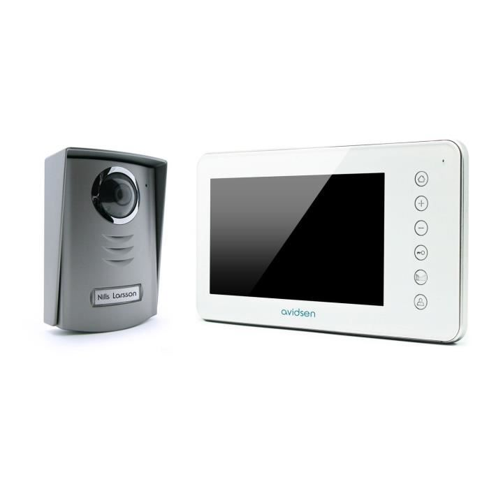 avidsen nora interphone vidéo blanc 2 fils 7 pouces - achat