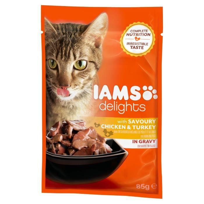 IAMS Delights Humide Poulet et Dinde en sauce - Toutes Races - 85 g - Pour chat adulte