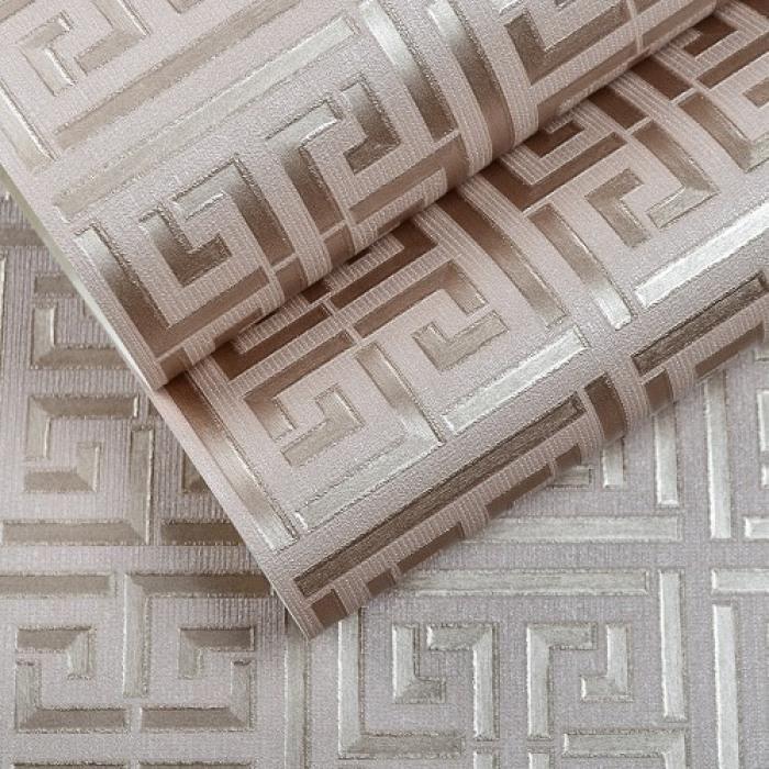Or Cle Grecque Motif Blanc Papier Peint Moderne Geometrique