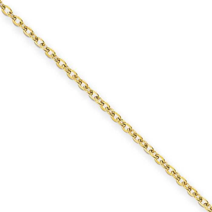 Acier inoxydable Ip-Plaqué Or 2.3 mm câble chaîne collier - 61 cm x 61 cm