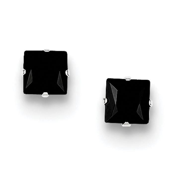 Argent Sterling Zircone Noir 5 mm-Boucles doreilles carrés