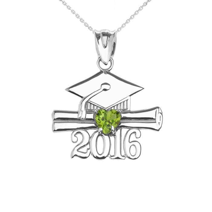 Collier Femme Pendentif 14 Ct Or Blanc Cœur Août Pierre De Naissance Clair Vert Oxyde De Zirconium Classe De 2016 Graduation (Liv...