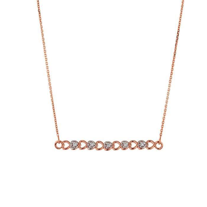 Pendentif 14 ct Or Rose 585/1000 Cœur de Diamants AVEC