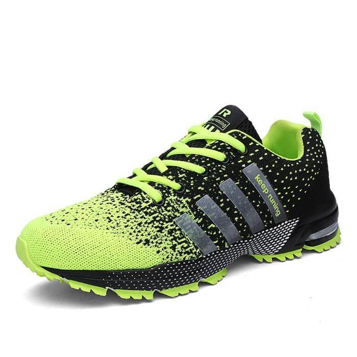 Basket Hommes et femmes Chaussures de course Respirant- Casual Chaussures - Vert fluorescent 8I2ClIp
