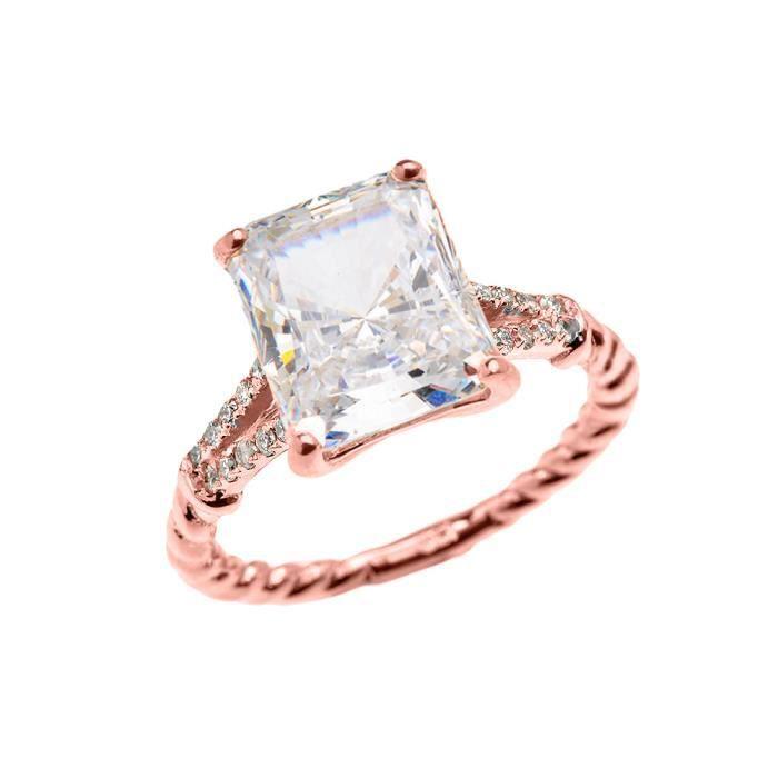 Bague Femme 14 Ct Or Rose Emeraude Coupe Oxyde De Zirconium Et Diamant Solitaire Conception De Corde