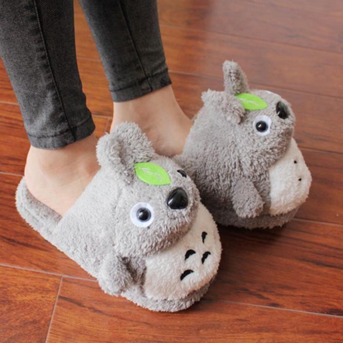Pantoufles en Peluche Douce Totoro Chaussons Chaussures Automne Hiver Unisexe 0gXTce