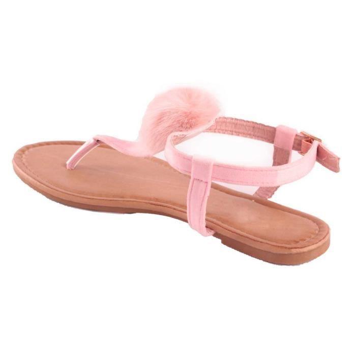 fourrure rose synthétique type rose sandale femme Sandales pompon plage avec IBwn7