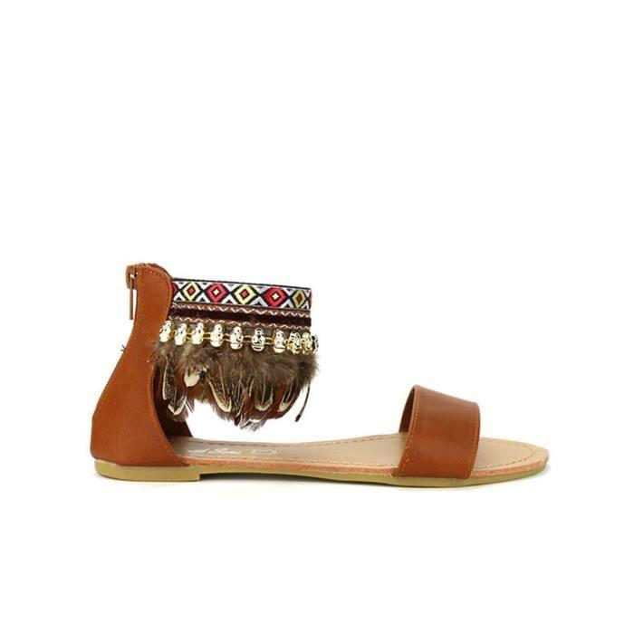 Marron pieds Cendriyon Chaussures sandale nu Sandales Femme T1Sqxatw