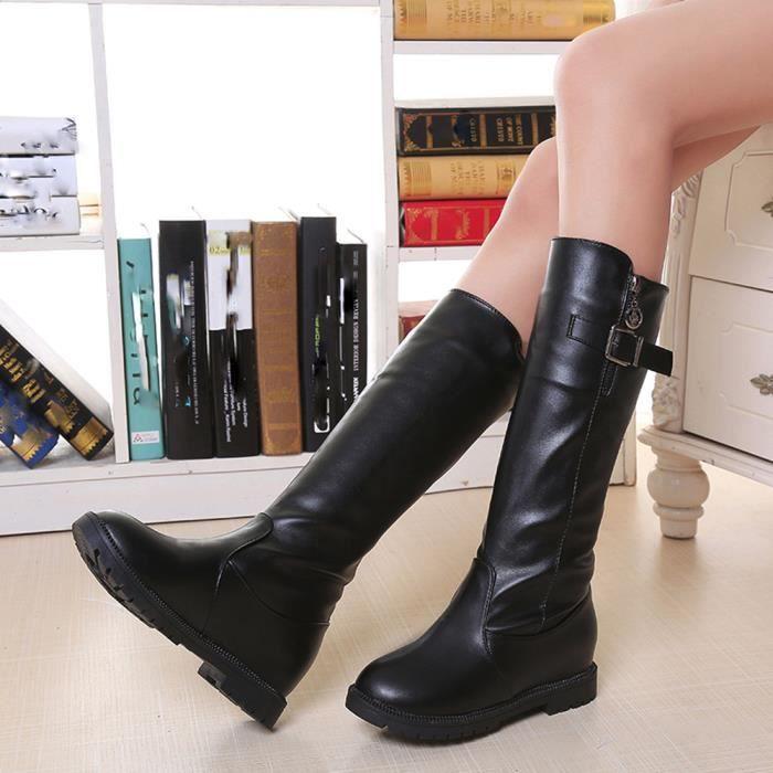 Femmes Dames Plat Avec Martin Bottes Zipper En Peluche Bottines Talons Chaussures Noir WE637