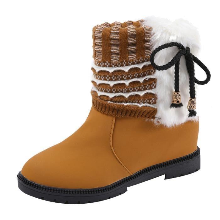 Napoulen®Loisirs Bottes hiver chaudes cheville populaire mode pour femme Jaune-YLL71102526YE fU1kfm