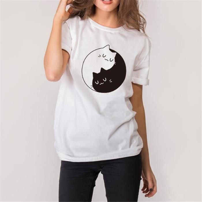 Fille T Femmes Blanc Casual Chemisier Hauts shirt Du Les Ras Cou D'été BerCoWxd