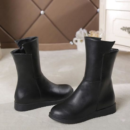Street Courtes Bout Femme Mode Chaussures Noir Bottes Rond Ceintures Middle nq1gwvUA