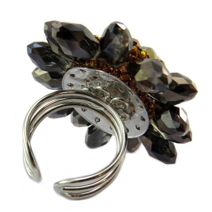 Bague artisanale Callas marron gris - 4 cm [P4420]
