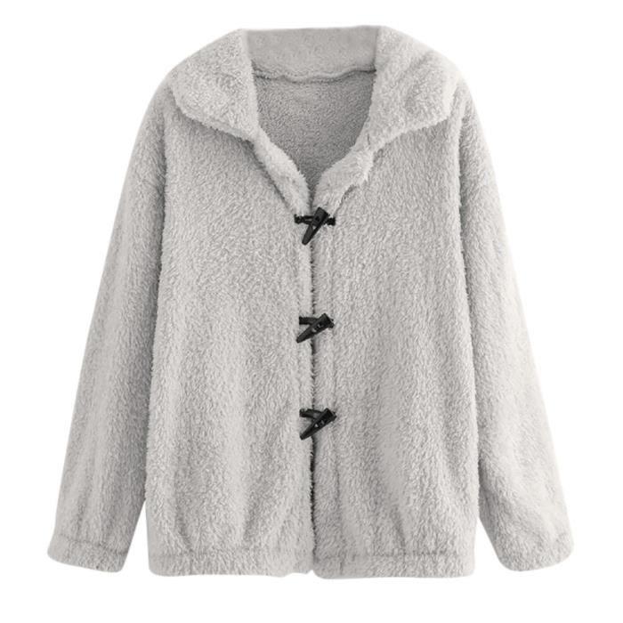 Longues Manches Rétro Femmes Gris À Bouton Casual Veste Outwear Manteau 4pnq6Yw