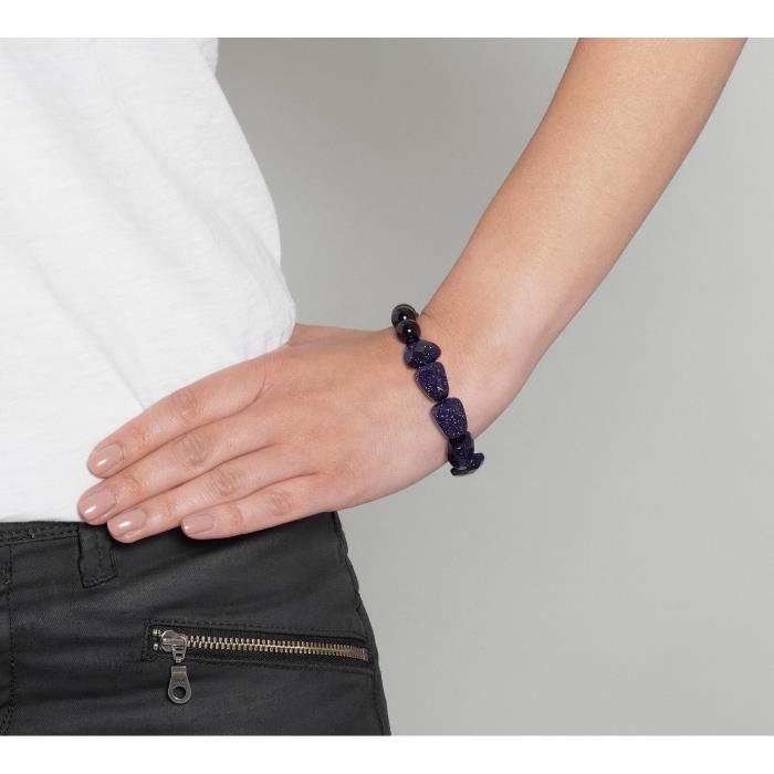 Benita Agate Noir Et Bracelet En Grès Bleu Taille : 21 Cm GSSKT